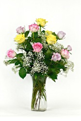 Dozen Mixed Roses Vased with Baby's Breath from Flowers by Ray and Sharon in Muskegon, MI