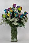 Over the Rainbow Roses Vased from Flowers by Ray and Sharon in Muskegon, MI