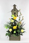 Birdhouse Planter with Silks from Flowers by Ray and Sharon in Muskegon, MI