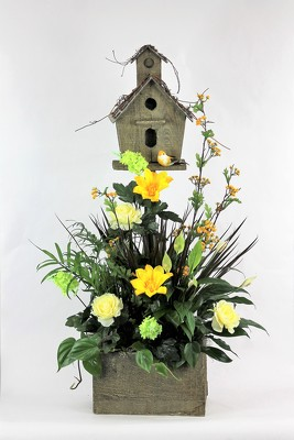 Flowers by ray and sharon flower shop in muskegon birdhouse planter with silks from flowers by ray and sharon in muskegon mi click here for larger image mightylinksfo